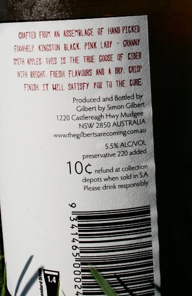 Back label of The Goose