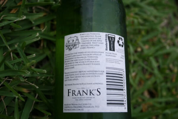 Franks Summer Cider back label